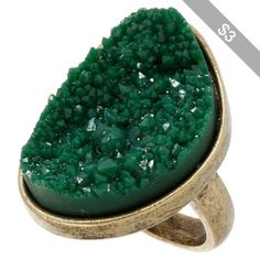 Green Sparkle Rock Ring