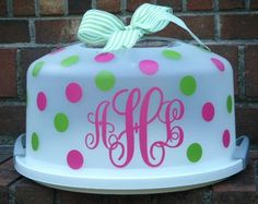 great idea for a cake keeper with vinyl monogram and polka dots! add a ribbon and voila! So cute with vinyl decals from thehappyowls.com