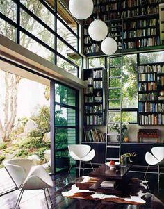 beautiful modern study / library - love the way it harmonizes with nature    #modern  #sleek  #study  #library  #office  #home  #bookcase  #bookshelves   #open  #airy