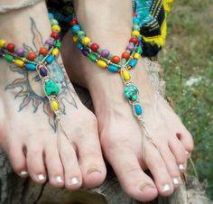 Hippie Barefoot Sandals Colorful Sandals Hemp Bottomless shoes Summer Music Festivals Boho Beaded Sandals. $35.00, via Etsy.