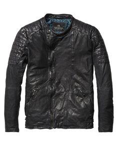 Veste de motard en cuir | Vestes Cuir | Habillement Homme Scotch & Soda