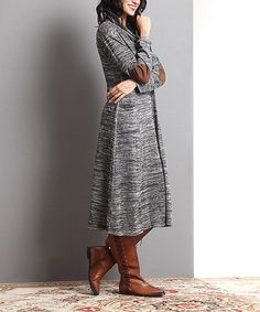 Reborn Collection Oatmeal Mélange Elbow Patch Cowl Neck Dress | zulily