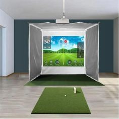 HomeCourse is an innovative, state-of-the-art, fully retractable golf system that is wireless, battery-powered, and operates with the click of a remote control. Within seconds, you can turn virtually any space into an indoor driving range or golf simulator environment, and then with the click of a button, return the room back to its original setting.