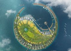 diller scofidio + renfro has narrowly beaten foster + partners and morphosis in a competition to masterplan an eco-island in the south china sea. Floating Architecture, Landscape Architecture, Landscape Design, Architecture Design, Futuristic City, Futuristic Design, Futuristic Architecture, Plan Ville, Haikou