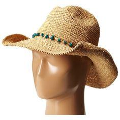 4dae409d8d0 San Diego Hat Company RHC1074 Crochet Raffia Cowboy w  Turqoise Bead... (