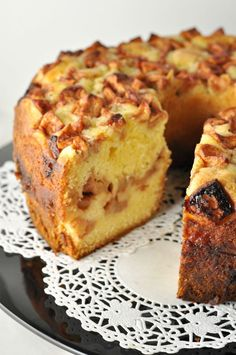 Apple Cake with Warm Salted Caramel Sauce by flavourandsavour #Cake #Apple #Salted_Caramel