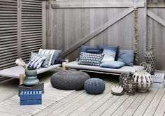 serene grey and blue outdoor living space Design Room, House Design, Interior Design, Outdoor Pouf, Outdoor Decor, Outdoor Seating, Outdoor Lounge, Indoor Outdoor, Terrazas Chill Out
