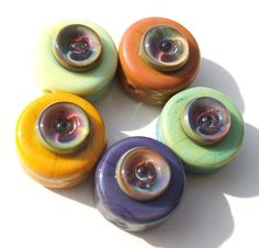 Bubble Sprees-Moon- handmade lampwork bead set of 5 tab  beads with bubble button accents. $40.00, via Etsy.