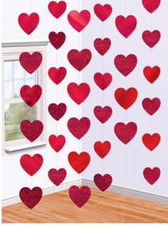 6 X Red Shiny Foil Heart Strings Hanging Decorations Free P&P