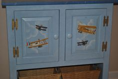 READY TO SHIP - Console Dresser - Vintage Airplane Design by onmyown14 on Etsy https://www.etsy.com/listing/102995888/ready-to-ship-console-dresser-vintage