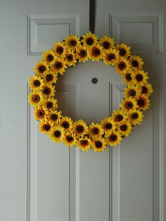 Sunflower Wreath by BeautifulDecor on Etsy, $40.00. Pssh! I could easily make this for MUCH cheaper!
