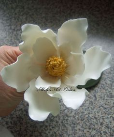 White Magnolia(without magnolia cutter) - by Melinartcakes @ CakesDecor.com - cake decorating website