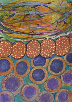 Colorful Swirl With Chain And Circles by Heidi Capitaine #Art#Artist#Painting#Contemporary#Watercolour#Abstract#FineArt#WallArt#Geometry#Shapes