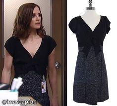 Hayden Barnes's Black Silk and Grey Tweed Dress - General Hospital, Season 55, Episode 04/13/17, Rebecca Budig, #GH #GeneralHospital Fashion #imasoapfan