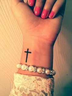 My new cross tattoo on my wrist. On the other side! My new cross tattoo on my wrist. On the other side!,Minimalistic Tattoos My new cross tattoo on my wrist. Cross Tattoo On Wrist, Simple Cross Tattoo, Faith Tattoo On Wrist, Cross On Wrist, Wrist Tattoo Bible Verse, Cross Tattoo Placement, Pretty Cross Tattoo, 27 Tattoo, Piercing Tattoo