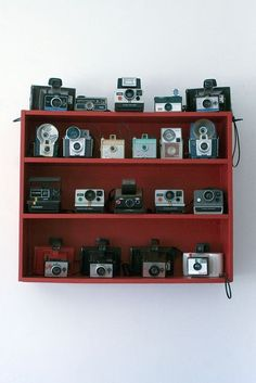 I've already been doing this (collecting vintage cameras since high school), but I love these and i want to display them more like this!