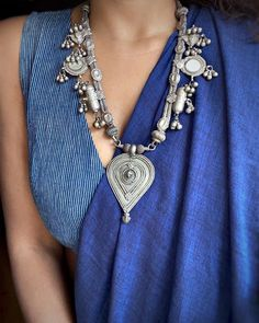 Cotton Saree Designs, Saree Blouse Neck Designs, Indigo Saree, Saree Jewellery, Silver Jewellery, Saree Jackets, Saree Trends, Kurti Designs Party Wear, Ethnic Outfits