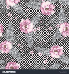 Floral Pattern On Geometric Black White Stock-Vektorgrafik (Lizenzfrei) 1066321265 Black And White Background, Black White, Elephant Tapestry, Flower Bar, Creative Textiles, Rose Photos, Botanical Flowers, Decoupage Paper, Fabulous Fabrics