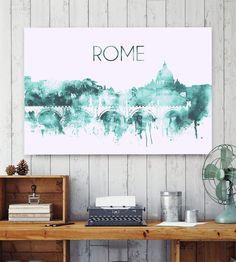 Rome, two-color watercolor poster