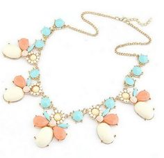 JF402307 Statement Choker Crystal Necklace Coral & Ivory & Turquoise Mixed color