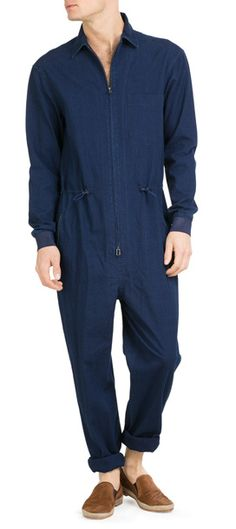 Utilitarian goes high style in this versatile cotton work suit from 3.1 Phillip Lim* Spread collar, long sleeves, single chest pocket, adjustable drawstring waistline, zip pockets at hip, zip front closure, straight leg* Classic fit #Stylebop