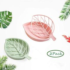 forlive 2 Pack Soap Dish Leaf-Shaped Soap Holder Plastic Draining Soap Box Soap Saver Bathroom Kitchen Counter Soap Case - Easy Cleaning Dry Stop Mushy (Green & Pink) - $7.99 - 4.1 out of 5 stars - Bathtub Tray Bathtub Tray, Soap Boxes, Soap Holder, Leaf Shapes, Packing, Leaves, Plastic, Cleaning, Tableware