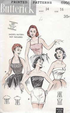 Vintage 1950s Butterick Sewing Pattern 6956 by SewAddicted2SewMuch