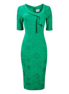 #StPatricksDay #GreenDress For a sophisticated take on the vintage look, the Hendricks dress ticks all the boxes. In a figure-hugging stretch fabric with an all-over jacquard texture,