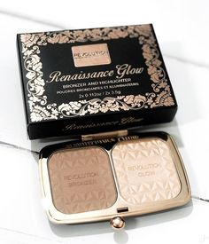 How pretty is this packaging for a drugstore makeup product?! It's the @makeuprevolution Renaissance Glow Palette ✨ It's £8 and contains an amazingly cool toned bronzer and a light gold highlighter ⭐️ It even comes with a velour pouch