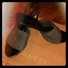 Authentic Gucci Shoes Black Authentic Gucci shoes. Not for woman with wide tootsies. Comes with brown Gucci drawstring bag. Gucci Shoes Heels
