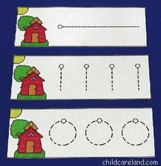I use these cards in my writing centers.  There are eighteen different cards that children can trace to help develop fine motor control.  Just print on cardstock paper ... cut out ... and laminate.  Write-on wipe-off markers work great with these cards.