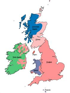 Languages of Great Britain and Ireland in 1800.