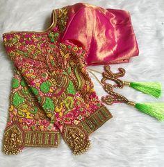 Stunning pink color designer blouse with peacock design hand embroidery thread work.  12 January 2019