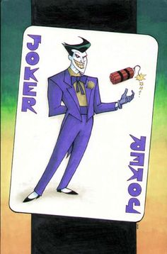 THE JOKER ORIGINAL FULL-PAGE PLAYING CARD COLOR PINUP ART by WOLFE Comic Art