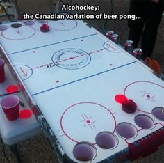 This air hockey version of beer pong is not only different, but awesome! This is a sure way to get everyone excited, (seeing as most people love air hockey), and an easy way for teams to compete. Canadian Beer, I Am Canadian, Canadian Things, Canadian People, Fun Games, Party Games, Party Fiesta, Beer Pong Tables, Air Hockey