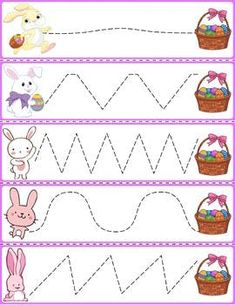 Trace The Pattern: Bunnies & Baskets Art Activities For Toddlers, Pre K Activities, Preschool Learning Activities, Free Preschool, Easter Activities, Preschool Crafts, Easter Crafts, Easter Worksheets, Preschool Worksheets