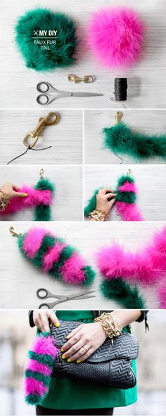 I Spy DIY: MY DIY | Faux Fur Tail - make in pastel pink and purple, add pearls and rhinestones