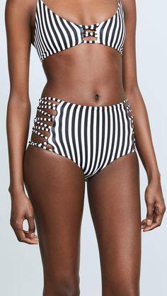 6b75dd02b334f Vertical Striped Spaghetti Strap High Leg Bikini Set