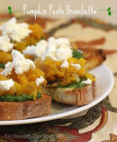 Pumpkin Pesto Bruschetta with Goat Cheese ~ Delicious appetizer for fall entertaining!