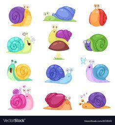 Buy Snail Vector Snail-shaped Character with Shell by pantimetrok on GraphicRiver. Snail vector snail-shaped character with shell and cartoon snailfish or snail-like mollusk kids illustration set of l. Snail Cartoon, Snail Craft, Frog Illustration, Snail Shell, Beautiful Butterflies, Cartoon Drawings, Art For Kids, Fantasy Art, Shells