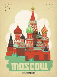 Moscow, Russia - Our latest series of classic travel poster art is called the WorldTravel Poster Collection. We were inspired by vintage travel prints from the Golden Age of Poster Design (a glorious period spanning the late-1800s to the mid-1900s.) So we set out to create a collection of brand new international prints with a bold and adventurous feel.