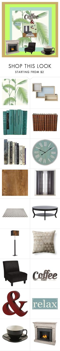 """""""An ideal place for coffee"""" by miki-87 ❤ liked on Polyvore featuring interior, interiors, interior design, home, home decor, interior decorating, Cole & Son, Bloomingville, Miller Curtains and Rustic Arrow"""