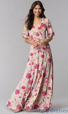 Floral Print Long Wrap V-Neck Party Dress