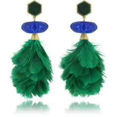 Tory Burch Earrings Tropical Creature Emerald Green Feather Drop... (246,920 KRW) ❤ liked on Polyvore featuring jewelry, earrings, clip on earrings, earring jewelry, tory burch, tory burch jewelry and clip on feather earrings