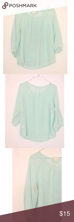 """Everly Mint Blouse 24"""" L 17.5"""" pit to pit. So beautiful pics do not do it justice. Has Lace details Modcloth Tops"""