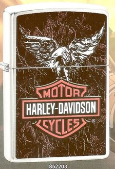 Harley Davidson American Eagle & Leather Zippo Lighter.    ZippoCollectibles.com