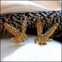Vintage Cufflinks Patriotic Gold Eagles 1960s Kennedy Era Mens Jewelry