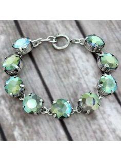 Olive Crystal Silvertone Bracelet #preppy #crystalbracelet #designerinspired