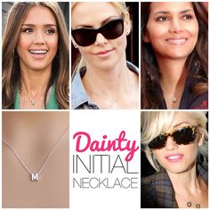 Personalize your necklace! Shop our Dainty Initial Necklace at www.jewelcult.com. Similar styles seen here on Jessica Alba, Charlize Theron, Gwen Stefani, and Halle Barry.