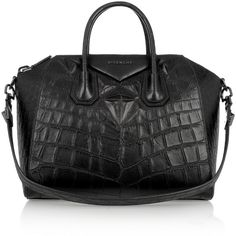 Givenchy Medium Antigona bag in black crocodile-style leather found on Polyvore